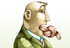 Disegno di un uomo con la lingua annodata