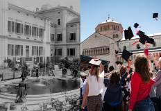 Foto storica di economia e foto recente con laureati in piazza Duomo