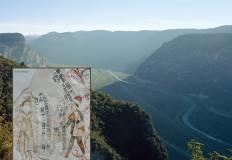 valle trentina e particolare di un affresco