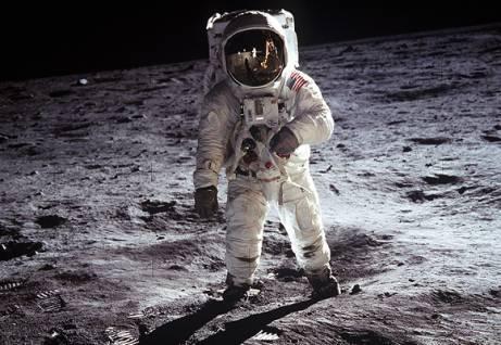 Astronaut Buzz Aldrin on the moon. NASA. Wikimedia Commons